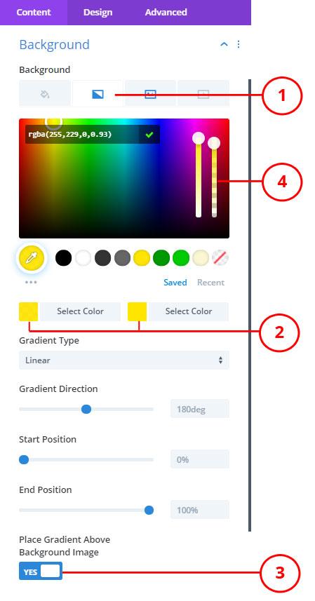 Divi background gradient