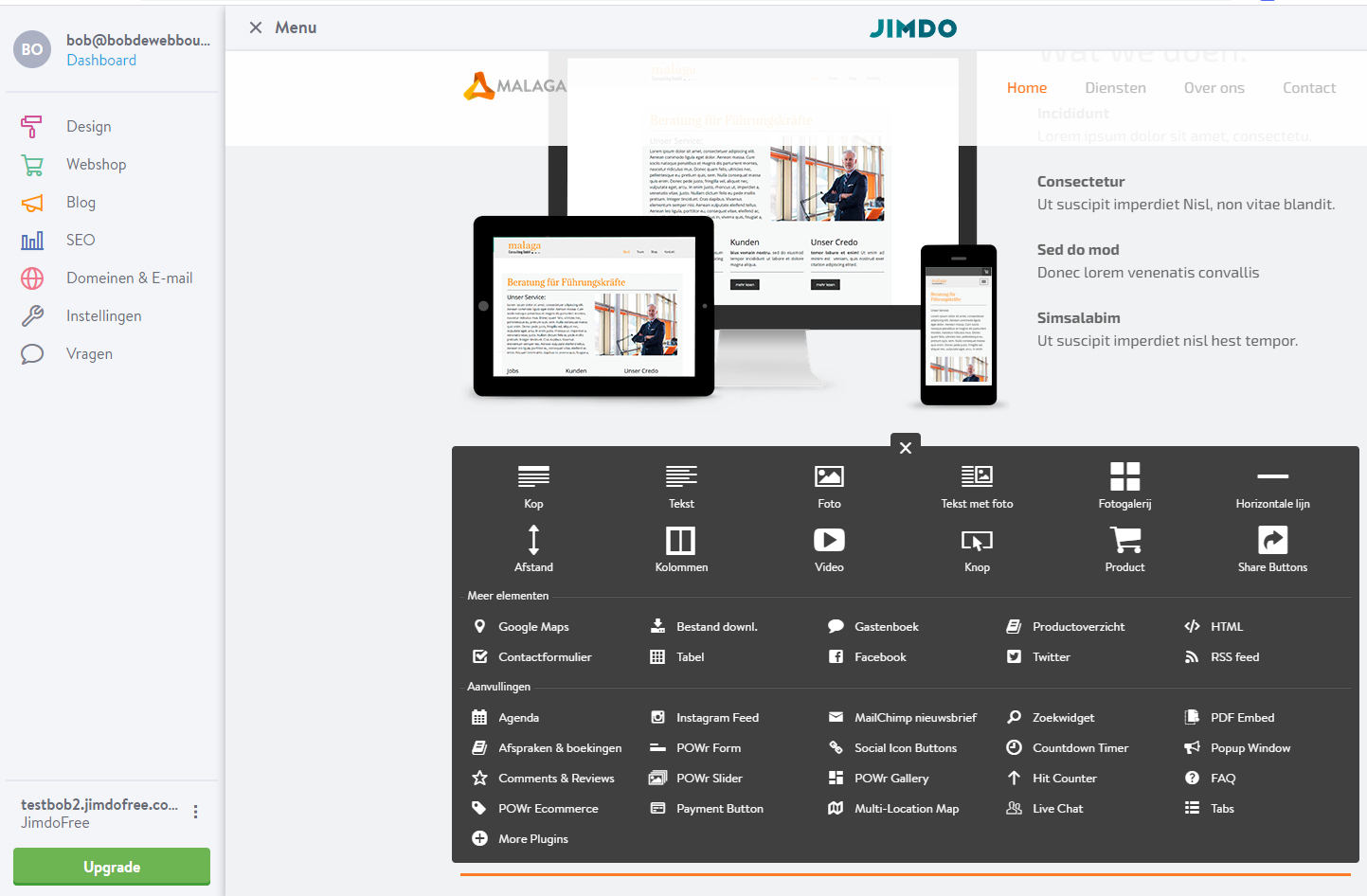 Jimdo creator - de uitgebreide versie van Jimdo