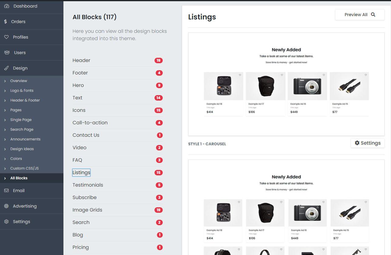 Listing theme Elementor