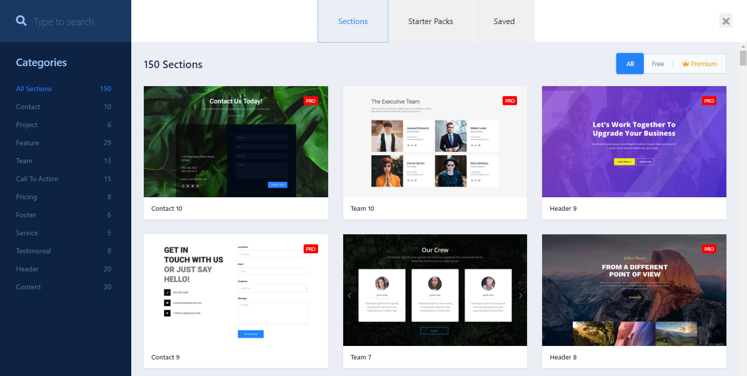 Qubely premade layouts